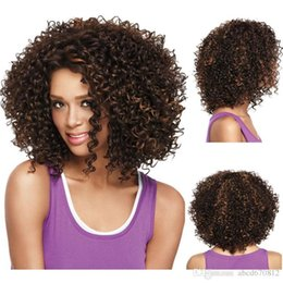 Wholesale Cheapest Afro Curly Wigs - Good looking nice mixed color cheap u part synthetic afro kinky curly wigs for black women