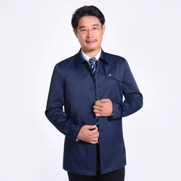 Fall-British Style Middle Aged Mens Elegant Trench Coat Mans Beige Blue Lined Windbreaker Man Trenchs Plus Size Outwear Manteau Homme