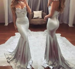 Silver Mermaid Long Prom Dresses 2018 New Sweetheart Lace Appliqued Backless Evening Gowns Formal Party Wear BA6763