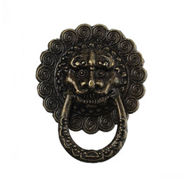 Wholesale Dorabeads Jewelry Wooden Box Pull Handle Dresser Drawer For Cabinet Door Round Antique Bronze Lion Face Pattern mm