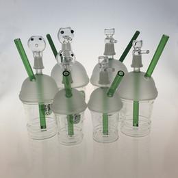 2017 tubes narguilé Dabuccino Cup Verre Bongs 20cm Tuyaux d'eau polie Nail Green Tube Narguilés Deux Fonction Utilisation Huile Ou Herbes Sèches 18.8mm Joint TTH001 tubes narguilé sortie