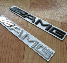 High quality 10pcs lot Metal Silver Chrome Black 3M AMG Decal Sticker Logo Emblem Car Badges for Mercedes CL GL SL ML A B C E S class Car st