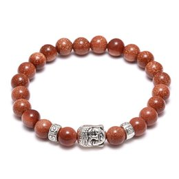Wholesale Hot Coffee Agate bead Antique Silver Alloy Buddha head Cuff Charm Bangle Bracelet