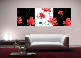 Home decoration unframed 3 Pieces picture free shipping Canvas Prints Cartoon flower dragonfly Abstract black and white flowers peony