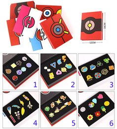 Wholesale Children Poke Metal Badge Brooch toys Style Zinic Alloy Brooch poke Action Figures Anime set with box toy B001