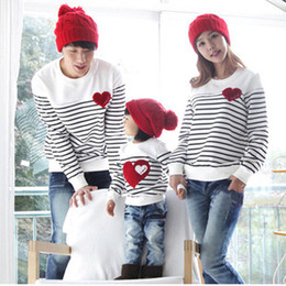 Wholesale-2016 Family fashion Spring Autumn family pack cotton set mom dad child clothes, mom and daughter striped long-sleeve T-shirt F2