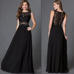 Wholesale Black Prom Dresses Long Sheer Crew Neck Lace Beaded Elegant Evening Gowns Chiffon Cheap Online Store Special Occasions Party Dress