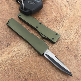 New Army green Mini action Drop point 440 Single Blade T6 Aluminum Handle EDC knife camping knife outdoor knife knives