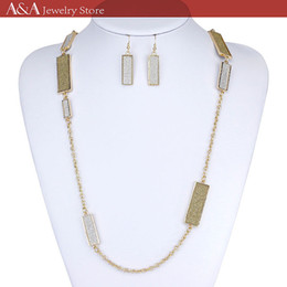 Elegant Necklaces Silver Gold Chain Necklaces For Women Rectangle Parts On Chains Long Necklaces Brand A&A Jewelry