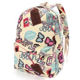 Wholesale Women Girl Canvas School Backpacks Union Flag Butterfly Stamp Pattern Rucksack Travel Satchel Student Character Bookbag London