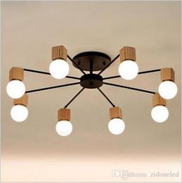 Acheter en ligne Étude sur les enfants-Moderne Minimaliste plafonniers LED chandeliers bois AOK plafonnier salon chambre à coucher enfants salle plafonnier étude éclairage