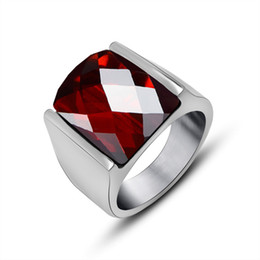 Mexican Style Large Square Red Crystals Stainless Steel Rings For Men Jewelry Steampunk Ruby Solitaire Ring Anello Uomo 2017 New Arrivals