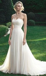Wholesale 2016 Strapless Beach Wedding Dress A line Sweetheart Lace Floor Length Tulle Bridal Gowns Online Custom Made