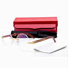 Wholesale Lunette Rimless Round Glasses for Men Women New Brand Designer Black Brown Clear Lens Gold Metal Wood Bamboo Carving Buffalo Sunglasses
