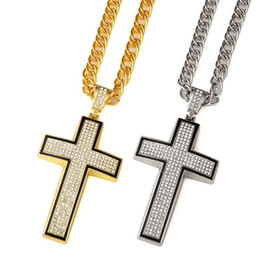 Wholesale 2016 Men s Jewelry Classic Design Bible Cross Pendant Necklace With Rhinestone Gold Silver Color Fashion Jewelry With Gift Box