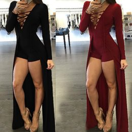 lace up women design v neck maxi overlay jumpsuit rompers Winter sexy shawl black long sleeve bodysuit playsuit Hollow Out Overlay Romper