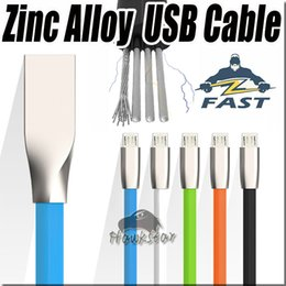 Wholesale Original D Zinc Alloy metal USB Cable micro Fast Sync Strong For samsung s Noodle Rhombus data Transmission and Charging Cord V8