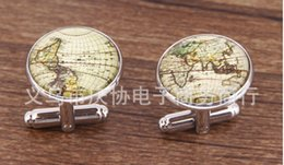 Wholesale Map Cufflinks Steampunk Vintage World Map Cufflinks Averangers Greekry Silver Pairs Mens Cuff Best Gifts men shirt cufflinks
