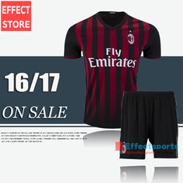Wholesale Discount AC Milan kits soccer jerseys Uniforms New BACCA KAKA home black BONAVENTURA HONDA AC Milan football shirts men sets