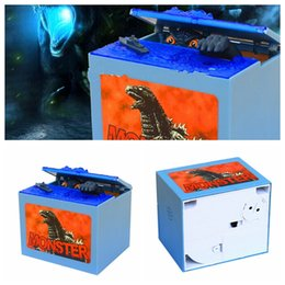 Wholesale Godzilla Piggy Bank Box Movie Musical Monster Moving Electronic Coin Bank Box LED Sound Gimmick Figure Barking Bank Box KKA479