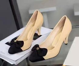 La conception de chaussures de couleur à vendre-Brand Design Couleur mixte Knot Bowtie cuir véritable Office Lady Party 7 CM High Heel Robe Pumps Chaussures Femme Sz 35-39