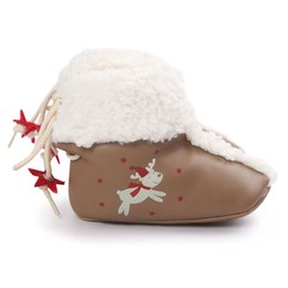 Wholesale New Fashin Winter Baby Boots Christmas Fawn Lether Thicken Wool Fur Lace up Infant Walking Shoes Soft Sole Anti slip