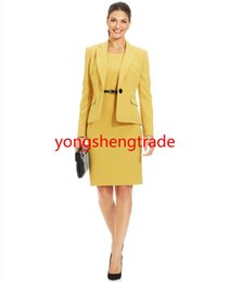Custom Made Women Suit Yellow Single-Button Blazer & Sleeveless Sheath Dress Notched Collar Both Are Lined 744