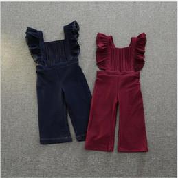 Wholesale Fashion Baby Girls Denim Ruffles Suspenders Kids Girls Autumn Winter Casual Overalls Babies Christmas Trouser