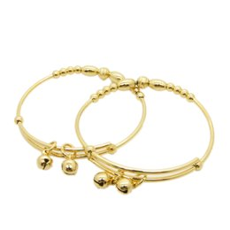 Lovely Expendable Bangle 18k Yellow Gold Filled Children's Bangle Dia 50mm With Bells