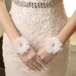 Wholesale White middle finger wedding gloves Lei mesh grid transparent flower bridal gloves wedding dress gloves accessories