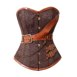 Plus size 6XL 2016 Corselet Sexy Lingerie Women Corset Overbust waist trainer Brown Breast Binder Steel Bone Steampunk Belt cinta modeladora