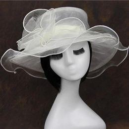 Wholesale Fashion vintage net yarn Wide Brim flower Hats top hat women girl summer sun hat cap solid color drop shipping