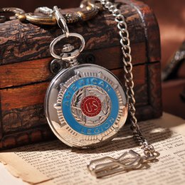 Wholesale American Emble Army Military Men Pocket Watch Fashion Cool Necklace Suits Mechanical Hand Wind Pocket Watch