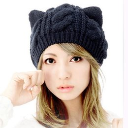 2016 new fall wool berets twist winter hat with cat ear cap Knitted hat winter warm cap