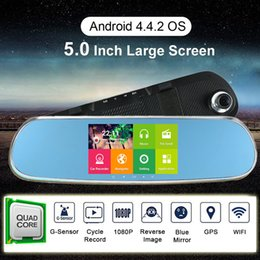 """1080P 5"""" LCD Android 4.4.2 Car DVR GPS Navigation Wifi Parking Rearview Mirror Dash cam video recorder 8G Dual Core cameras"""