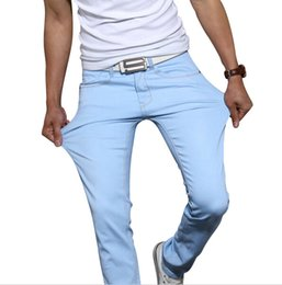 Wholesale New fashion MENS solid color stretch skinny jeans Feet pants Male casual trousers male pants Tights Men s jeans