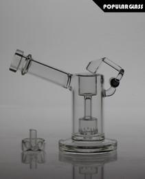 Wholesale 13 cm Tall Glass bongs glass mini bubbler with quartz swing glass smoking pipe WITH CAPS FC MINI V2