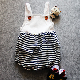 INS Baby stripe romper infant onesies jumpsuits body suits strap jumper Lace Camisole Leotard vest romper