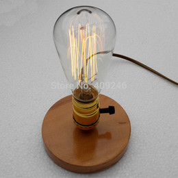 Wholesale Indoor Lighting Desk Lamps Injuicy Lighting Vintage Industrial Table Light Edison Bulb Wooden Desk Lamp E27 Wood Black