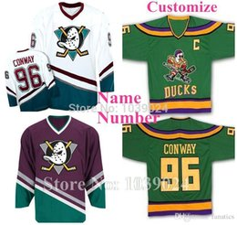 Wholesale 2016 Custom Charlie Conway Jersey Green Away Mighty Ducks Jersey Game Worn Hockey Trikot Shirt Any Name Number S XL