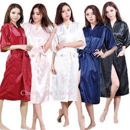 Women Faux Silk Satin Long Wedding Bride Bridesmaid Robe Kimono Robe Feminino Bath Robe Large Size XXXL Peignoir Femme Sexy Bathrobe