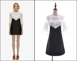 Wholesale European and American Self portrait mesh hollow out lace embroidery patchwork Slim short sleeved dress