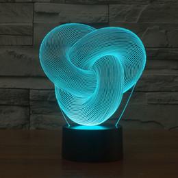 2017 knot knotting Style 3D Optical Night Light 9 LEDs Night Light DC 5V Factory Wholesale