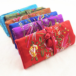 Embroidery flower Birds Silk Fabric Jewellery Roll Up Travel Storage Bag Portable Large Cosmetic Bag Women Drawstring Makeup Pouch 5pcs lot