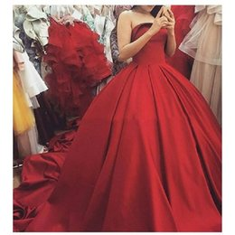 Wholesale http www aliexpress com item Fast Shipping Corset Ball Gown Princess Prom Dresses saudi arabia Red Sleeveless Puffy Skirt Debutante Engage