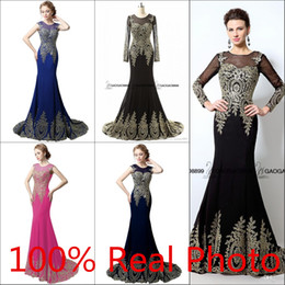 Real Photo in sotck cheap Chiffon Long Sleeve Mermaid Bridesmaid Dresses Sheer Neck Cap Sleeve Trumpet gold embroidery Wedding Party Dresses