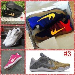 Wholesale 2016 Mens Kobe XI Elite Black Gold Barcelona Grey Rainbow Pink Breast Cancer Full White Basketball Shoes Sneaker Original Shoes Box