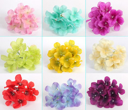 Wholesale 100pcs quot Hydrangea Artificial Silk Flower Heads For Wedding Home Bridal Bouquet Decoration Color For choose