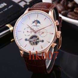 1580 Corgeut 44mm Rose Gold Case White Dial Moon Phase Date Day Men's Stainless Steel Case Automatic Watch