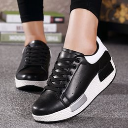 Wholesale Closed Wedge Shoes - New 2016 Height Increasing Women's Casual Shoes Sport Fashion Shoes for Women Platform Swing Wedges Shoes Breathable